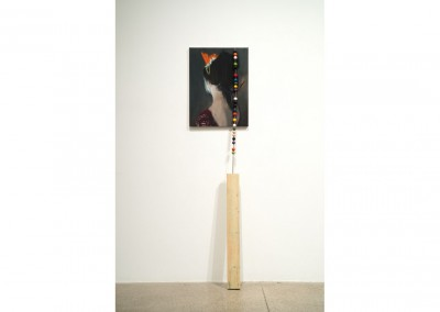 <strong>Abacus</strong> 2013<br>Oil on linen, wood, enamel, brass 175x45x25cm