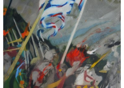 <strong>Carnival Eye</strong> (detail) 2012<br>Oil, resin, pigments, metal powders on aluminium 125x45cm