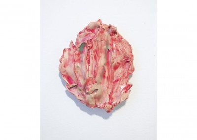 <strong>Small Red Mask</strong> 2013<br>Glazed ceramic 17x12cm