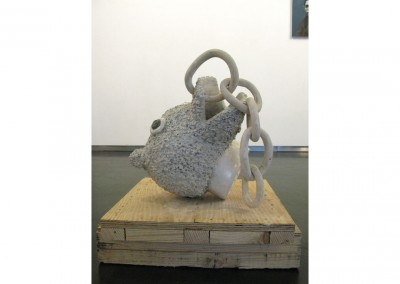 <strong>Peasouper</strong> 2009<br>Steel, resin, stone plaster, pigments, wood 60x50x50cm