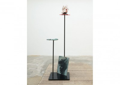 <strong>Schematic of a Young Satyr</strong> 2012<br>Oil on board, steel, glazed ceramics 160x50x50cm