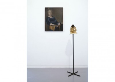 <strong>True/False/Other I</strong> 2012<br>Oil on linen, glazed ceramic, steel 80x60cm, 120x17cm