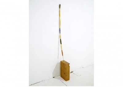 Line of Code<br>Oil, ceramic, brass, oak / 110x10x25cm / 2014